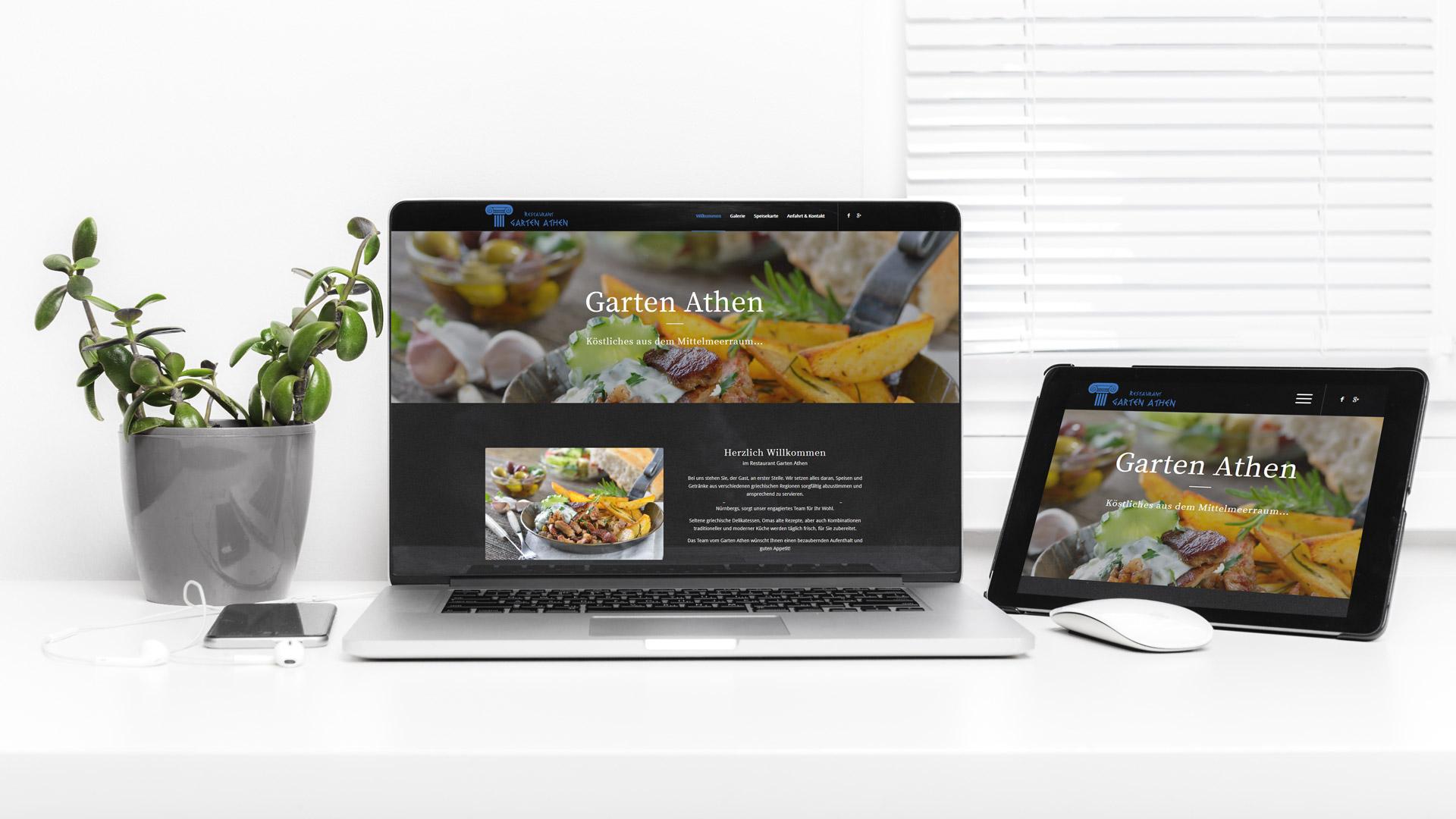 Internetauftritt für Garten Athen – Griechisches Restaurant Nürnberg